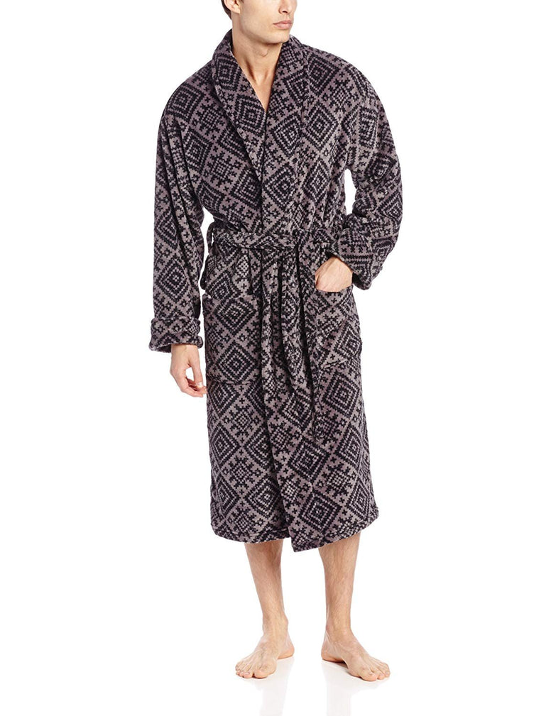Intimo Men's Printed Corel Fleece Robe