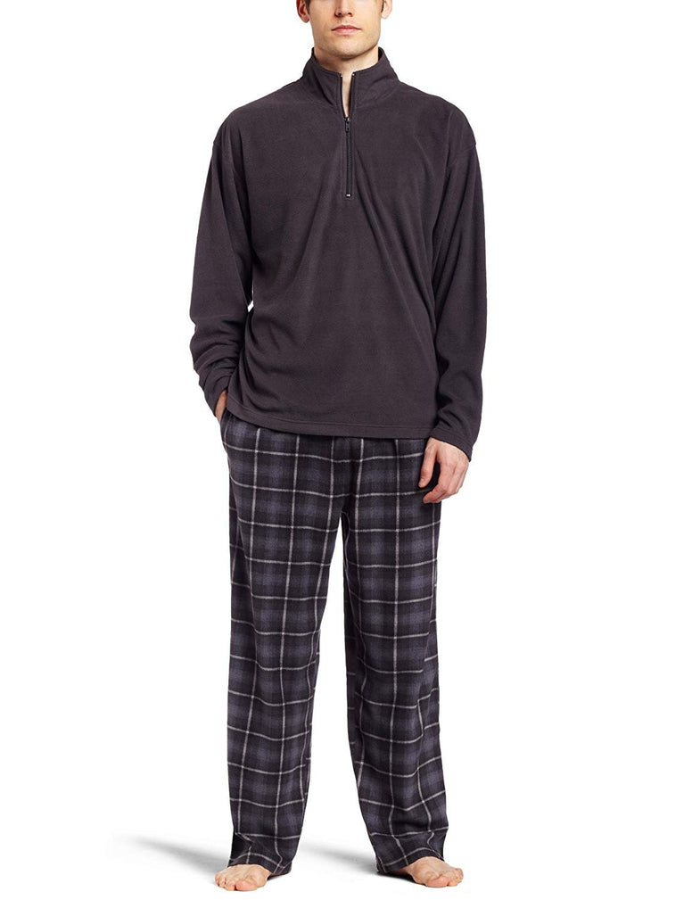 Intimo Men's Sleepwear Micro Fleece Two Piece Pajamas Set, Charcoal, Small