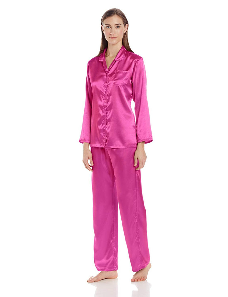 Intimo Women's Long  Poly Satin Pj Set