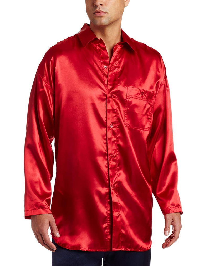 Intimo Men's Classic Satin Long Sleeve One Pocket Pajama Top