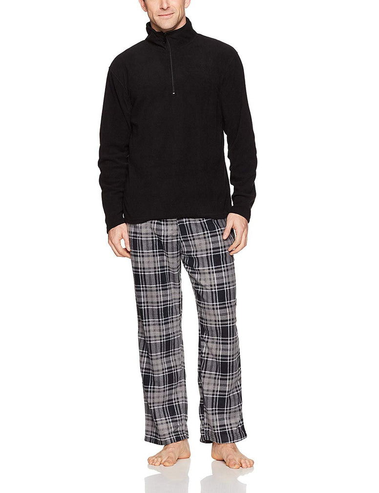 Intimo Men's Black Zipper Top Pajama Set