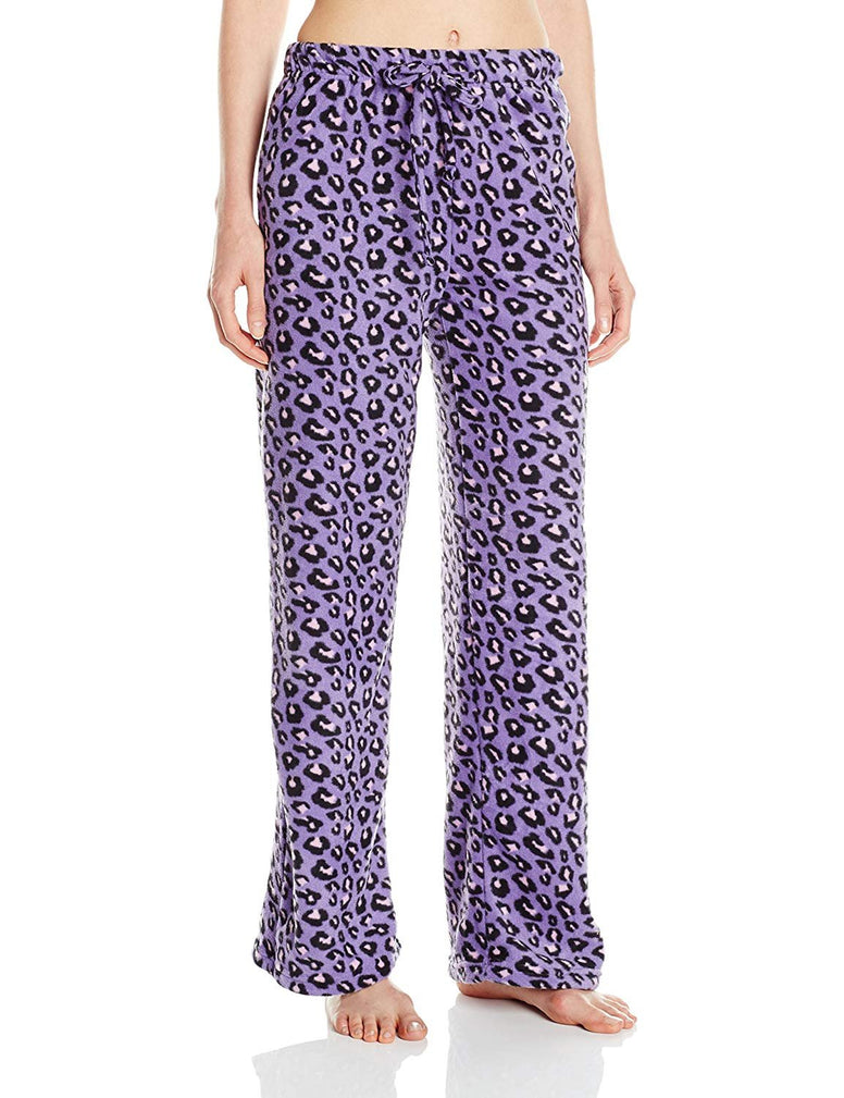 Intimo Women's Purple Animal Print Fleece Pajama Pants Sleepwear, Purple, L