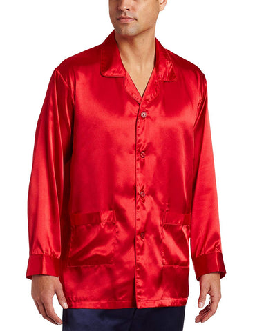 Intimo Men's Satin Pajama Sleep Top with Pockets