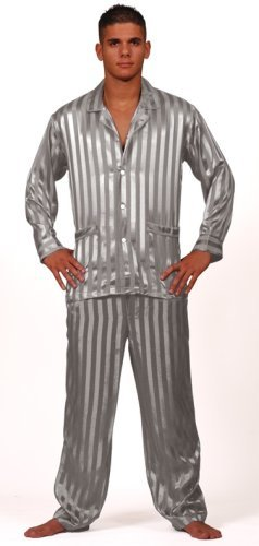 Intimo Men's Solid Jacquard Stripe Silk PJ