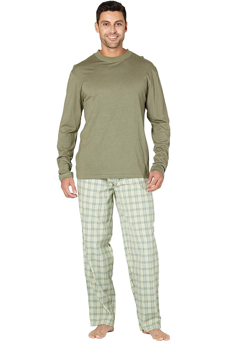 Men's Soft Bamboo Woven Pant and Knit Top Pajama Set