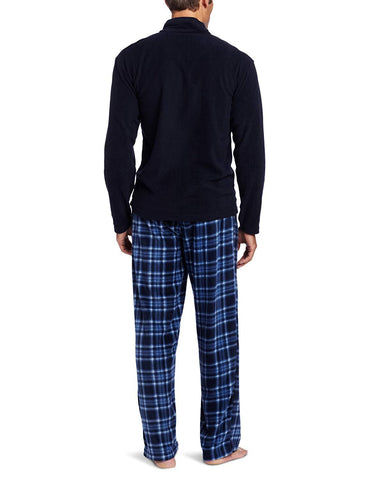 Intimo Men's Gift Set Quarter-Zip Fleece Top With Printed Micro-Fleece Pant Set
