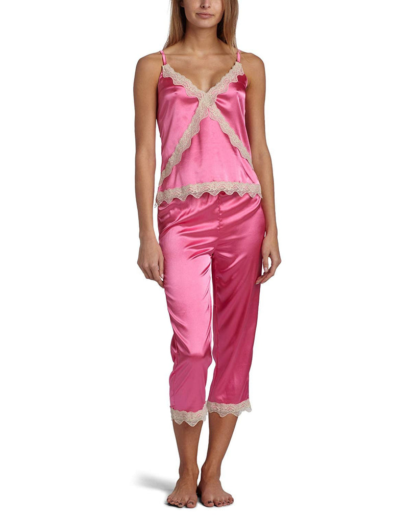 Intimo Women's Stretch Charmeuse Sleep Cami Top with Cropped Pant Set