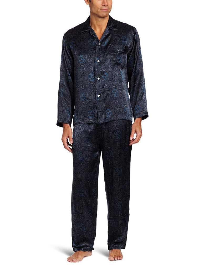 Intimo Men's Printed Silk Pajama Gift Set, Grey