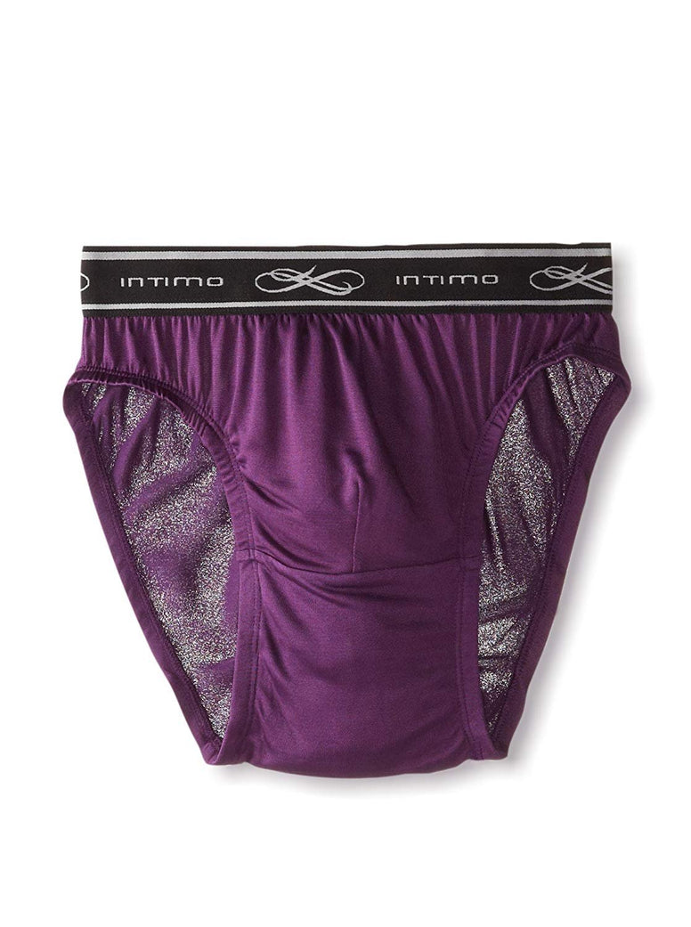 Intimo Men's Comfy Exposed Waistband Silk Low Rise Brief, Plum, Small