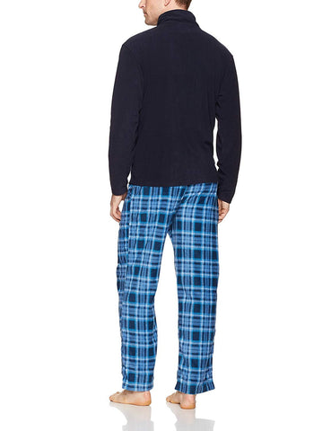 Intimo Men's Navy Zipper Top Pajama Set