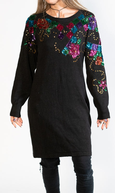 Totally 80's Sequin Sweater Dress