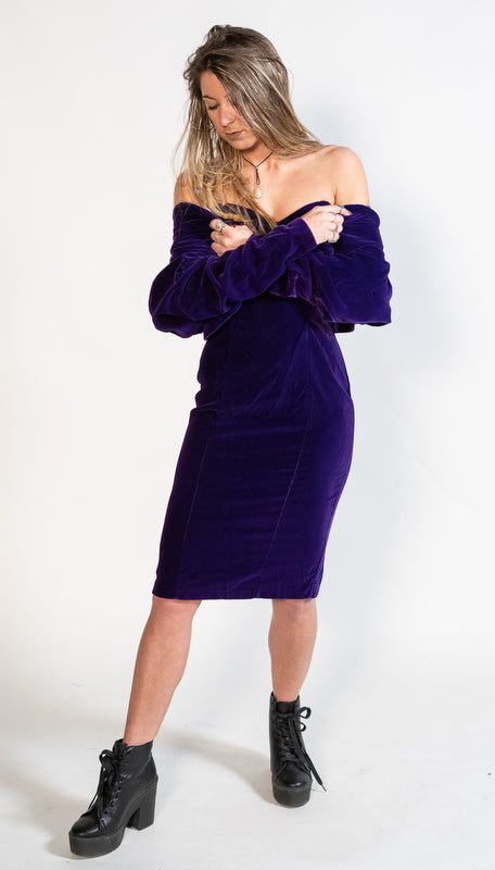 Purple Velvet Dress with Bolero Jacket