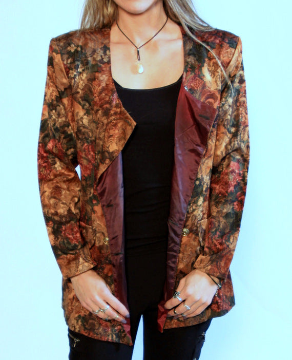 Fall Flower double breasted blazer