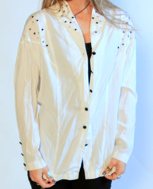 White Artsy Button Up SZ L