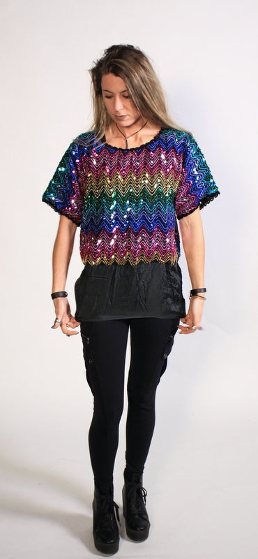Rainbow Sequin Shirt