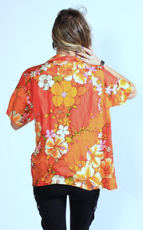 Mens Vintage Hawaiian Shirt SZ M