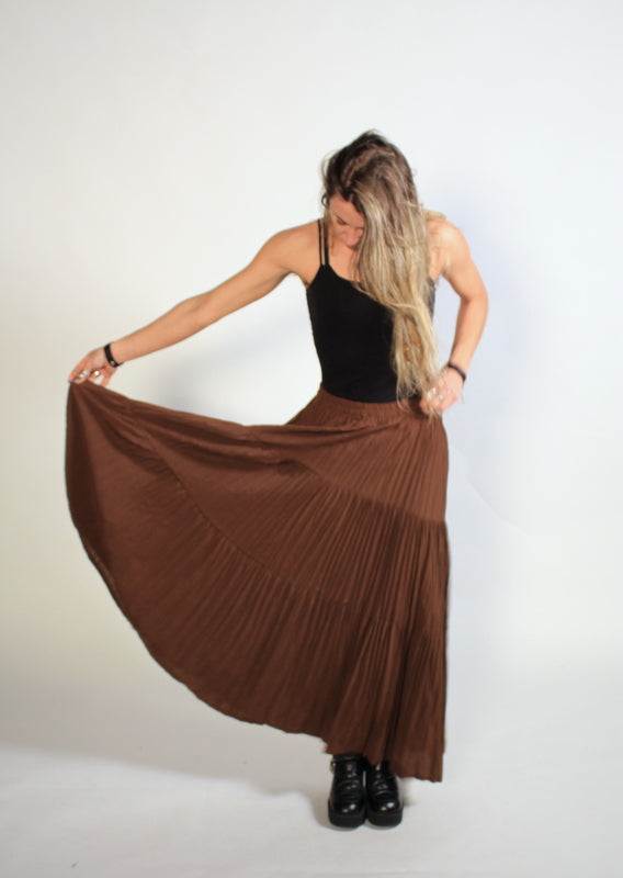 Long Brown Festival Hippie Dancing Skirt