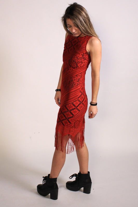 90's Slinky Red Lace Dress