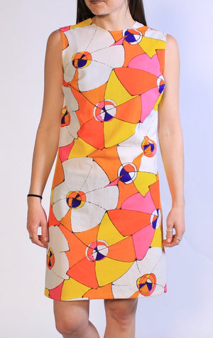 1960s Bold Flower GoGo Dress Sz L
