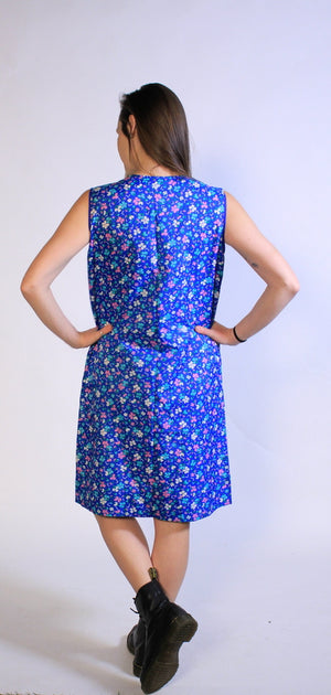 1960's Blue Flower Button Down Mu-mu SZ L