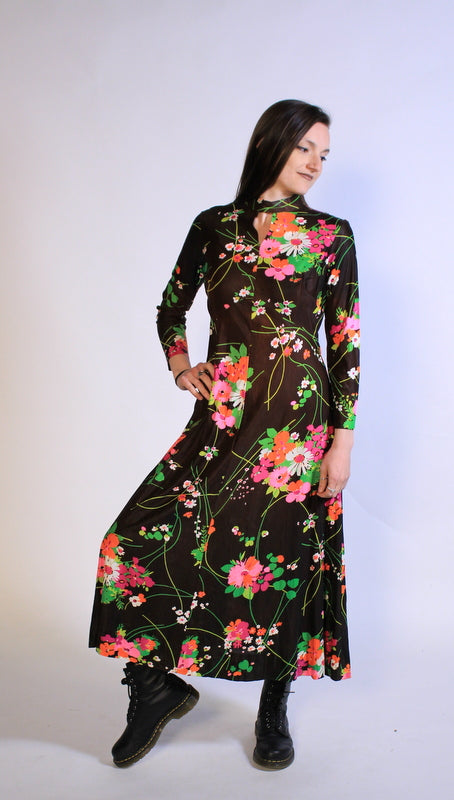 60's Long Flower Dress Sz M/L