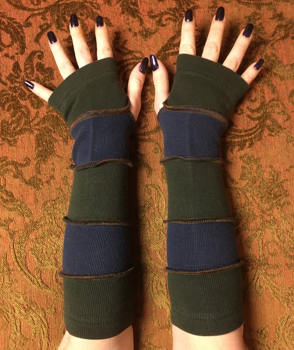 Blue& green cotton armwarmers