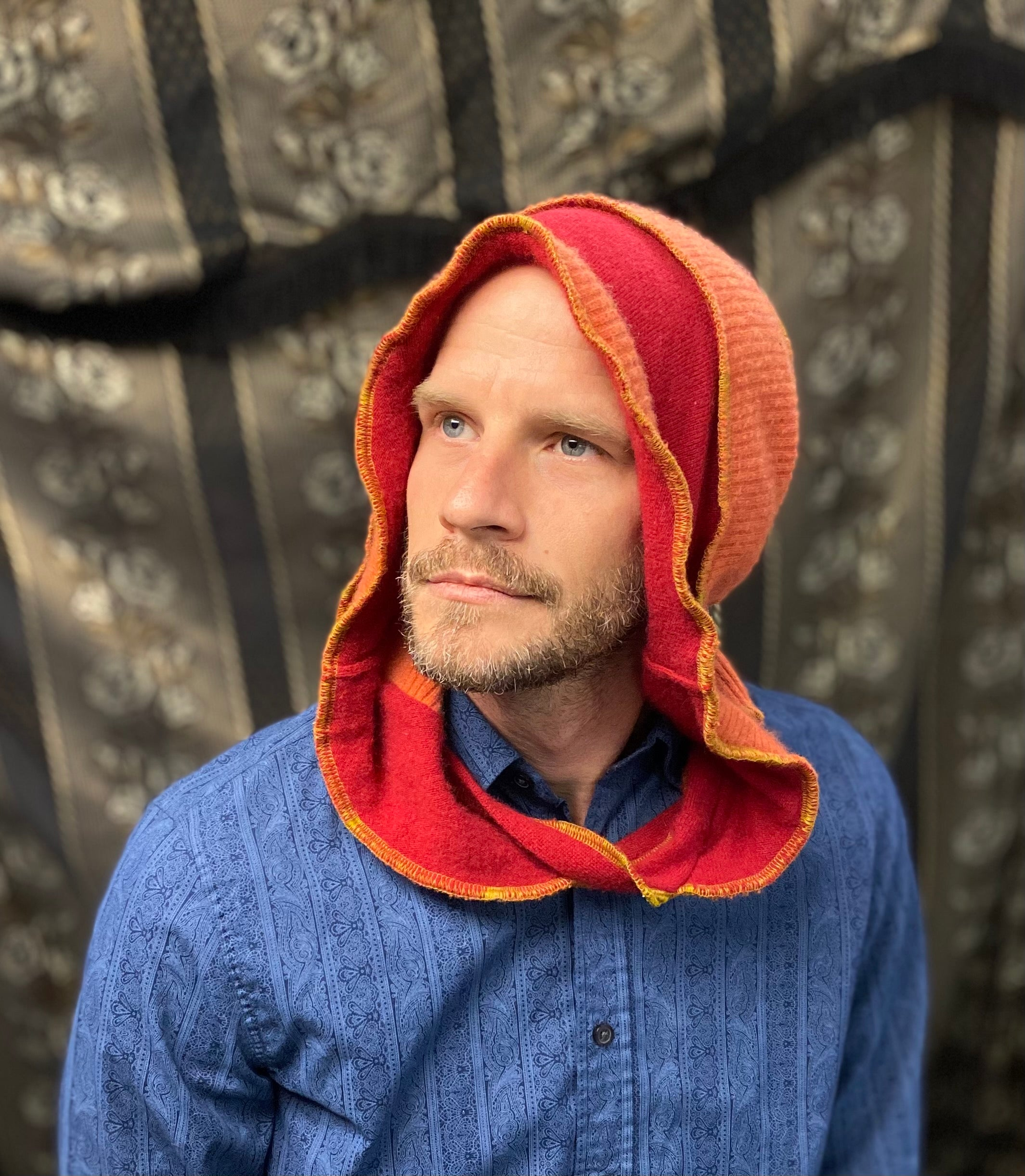 Orange and Red cashmere hood