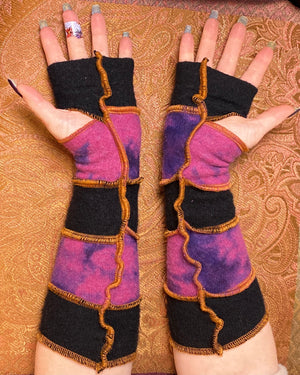 Black & pink&purple tie-dyed cashmere armwarmers