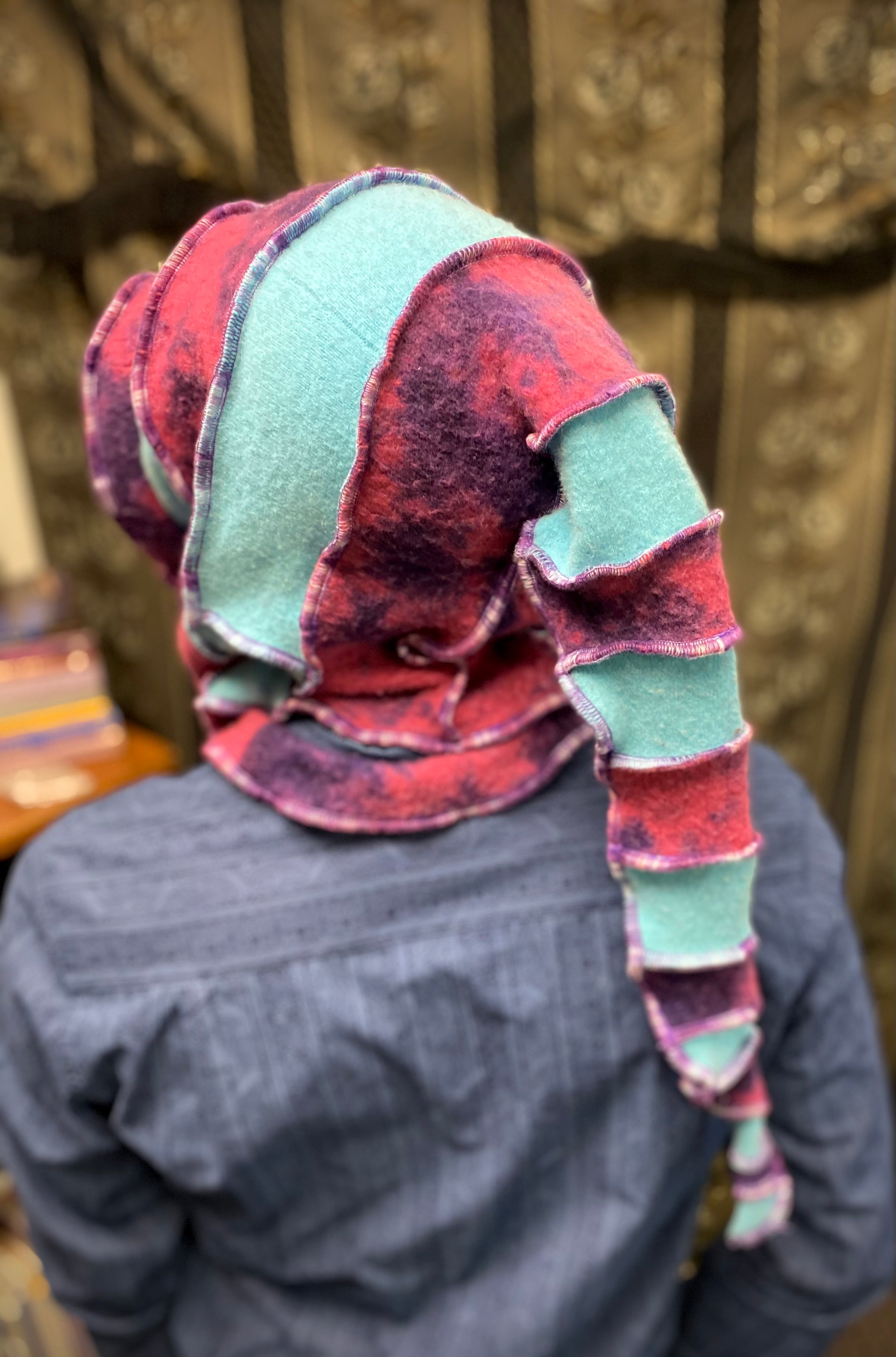 Pink and purple and teal cashmere hood