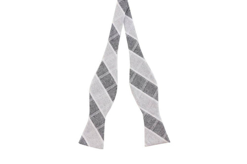 Two-Tone Grey Plaid Cotton Skinny Bow Tie