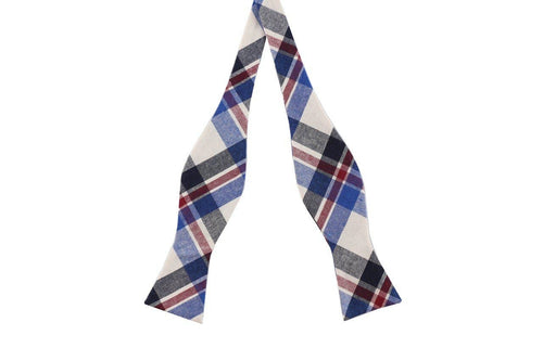 Collegiate Plaid Cotton Skinny Bow Tie