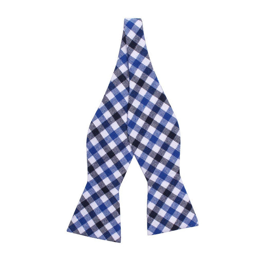 Blue Two-Tone Gingham Cotton Flannel Bow Tie