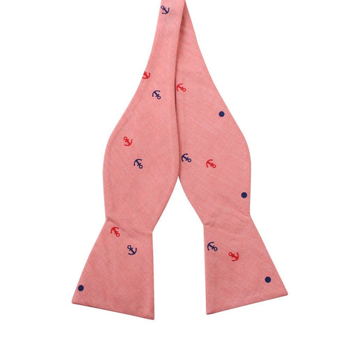 Salmon Anchor and Dot Cotton Bow Tie