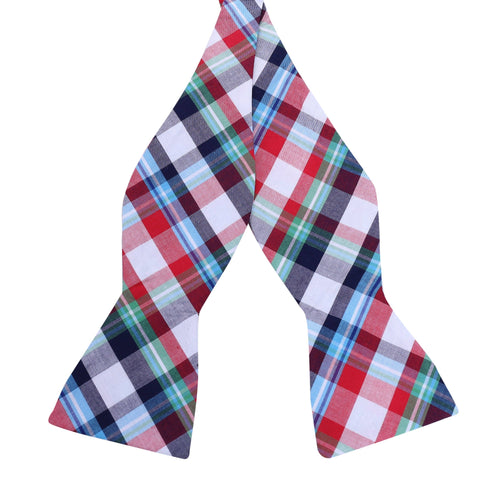 Summer Picnic Plaid Cotton Bow Tie