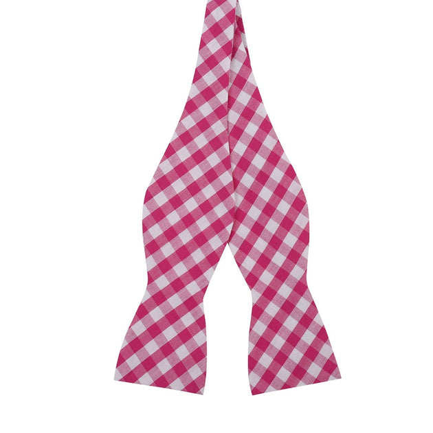 Berry Pink Gingham Plaid Cotton Bow Tie