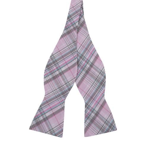 Pastel Pink and Grey Plaid Cotton Bow Tie
