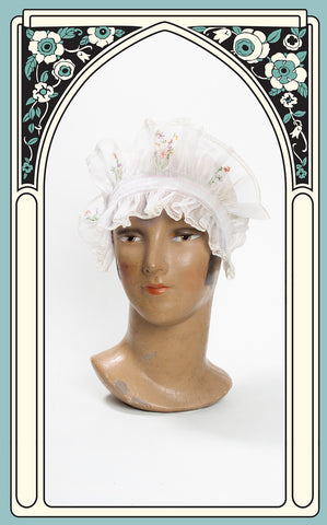 Early 1900s Embroidered Cotton Voile Boudoir Cap
