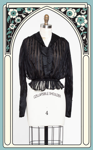 1910s Striped Silk & Gauze Evening Blouse with Plaited Waist