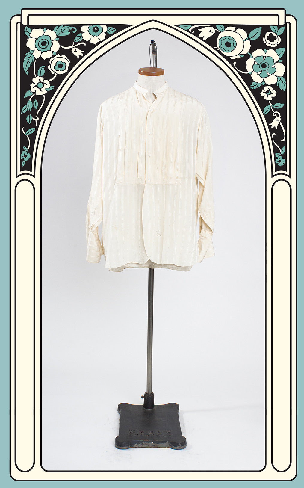 1910s John Wanamaker Silk Front-Plait Dress Shirt