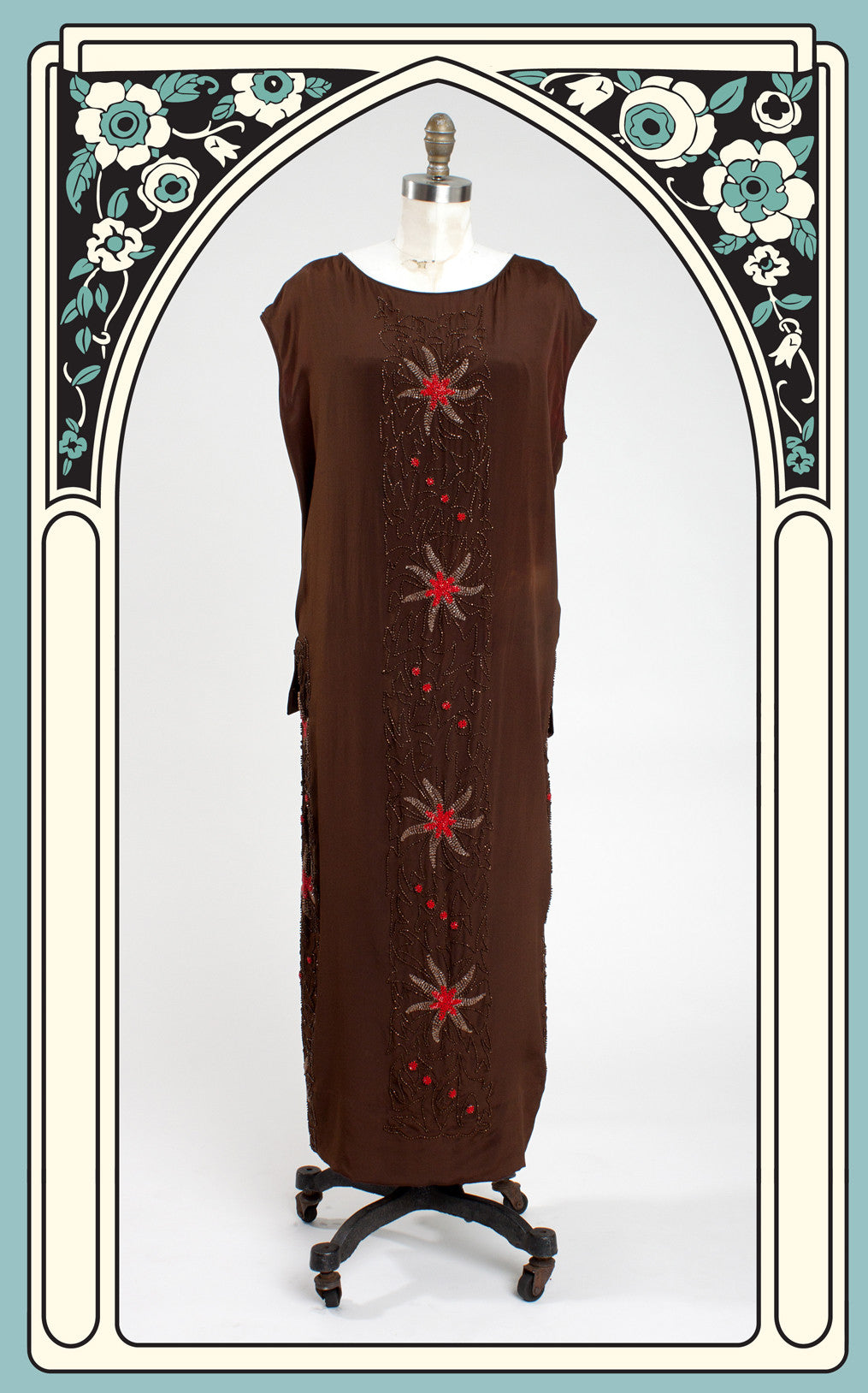 SOLD -- 1920s Heavily Beaded Silk Sheath Dress with Ruffled Bow Accent