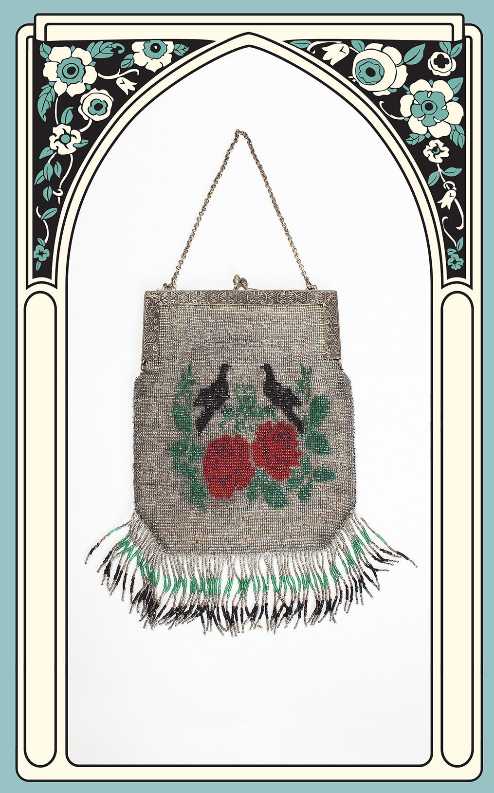 1910s/1920s Beaded Rose and Bird Evening Bag