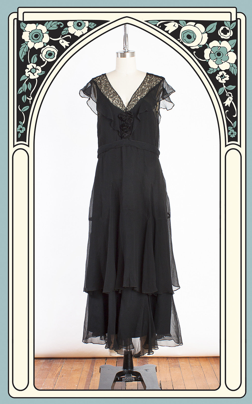 Late 1920s Black Silk Chiffon & Lace Tiered Evening Dress