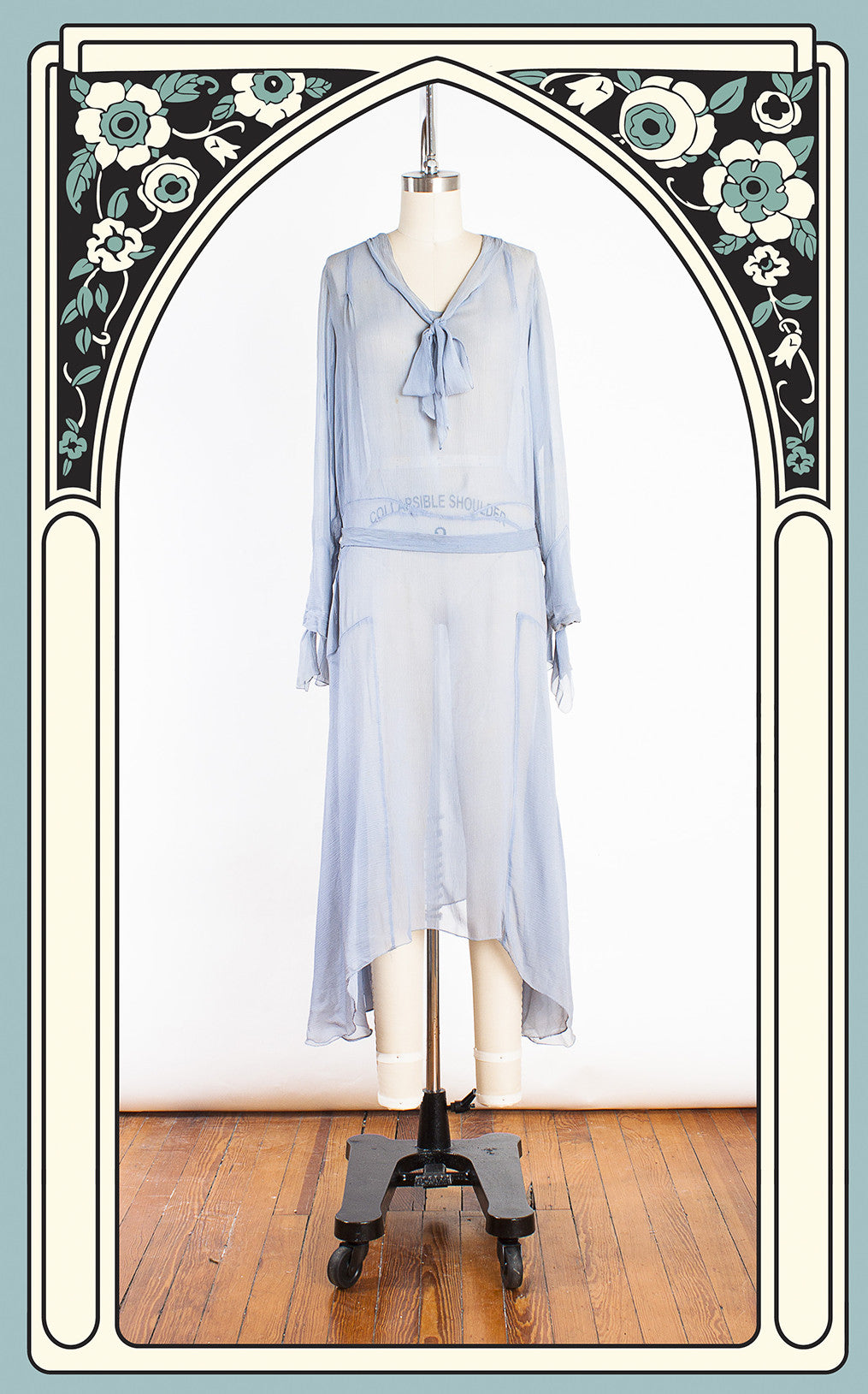 SOLD -- 1920s Silvery Blue Silk Chiffon Day Dress with Neck & Cuff Ties