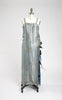 1920s Rare Metallic Silk Lamé and Rhinestone Evening Gown with Silk Velvet Floral Sash