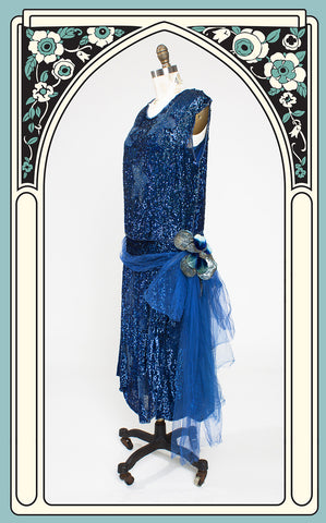 1920s Blue Sequined & Beaded Floral Dress with Silk Chiffon Sash & Velvet Flower by The Woman's Shop of Springfield, Mass.