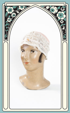 1920s Silk and Lace Boudoir Cap