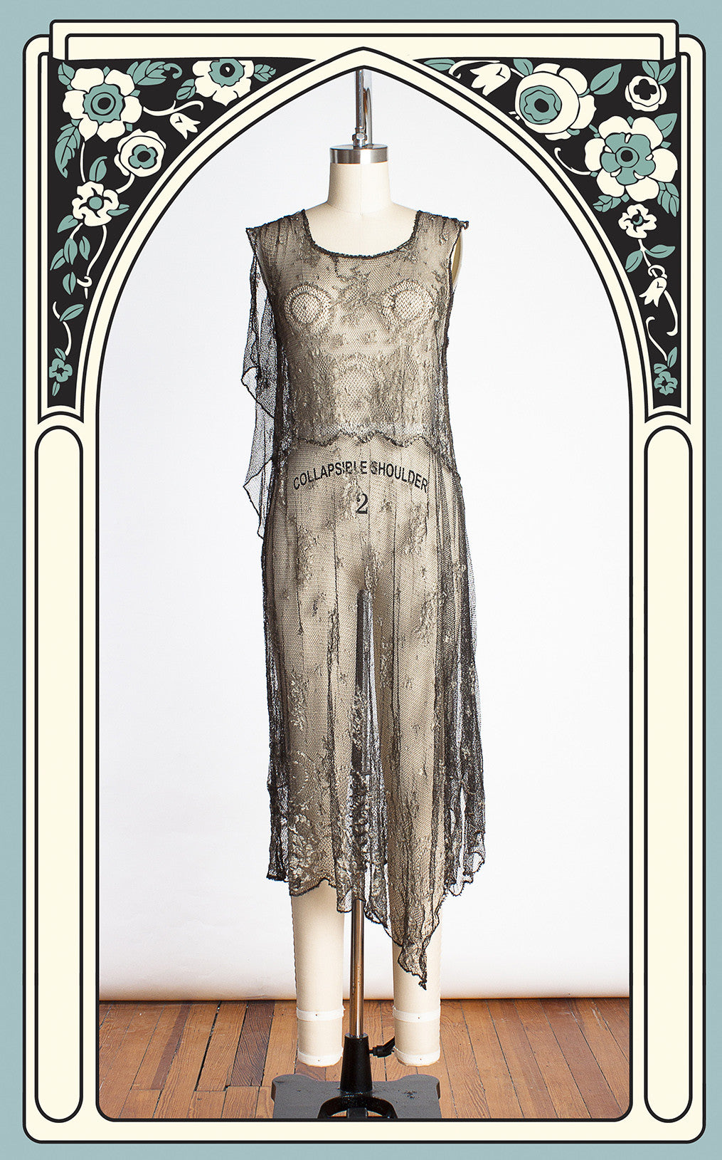 Rare 1920s Parisian Risqué Metallic Lace Asymmetrical Flapper Dress
