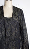 Rare 1920s Navy Silk & Gold Lamé Art Deco Patterned Blouse -- Museum Quality!