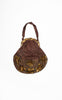 SOLD -- 1920s Silk & Printed Silk Velvet Embroidered Handbag with Marbled Celluloid Frame - Large Size!