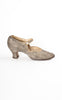 1920s J&T Cousins Silver Lamé Brocade Evening Shoes